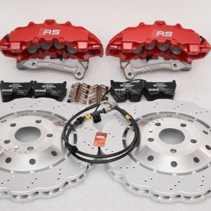Audi RS Full Big brake upgrade Brembo 8 Pot Calipers 365x34mm Wave Brake discs Brand NEW Red