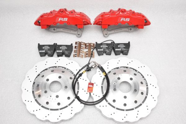 Audi RS Full Big brake upgrade Brembo 8 Pot Calipers 365x34mm Wave Brake discs Brand NEW Red-30