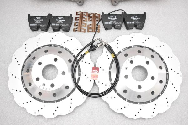 Audi RS Full Big brake upgrade Brembo 8 Pot Calipers 365x34mm Wave Brake discs Brand NEW Red-31