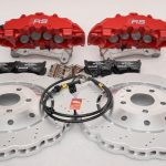 Audi RS Full Big brake upgrade Brembo 8 Pot Calipers 365x34mm Wave Brake discs Brand NEW Red-43