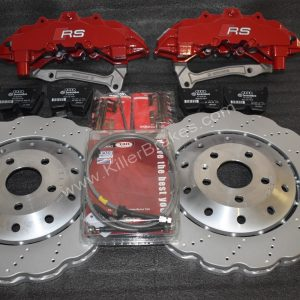 Audi RS Full Big brake upgrade Brembo 8 Pot Calipers 365mm Wave Brake discs Brand NEW Red