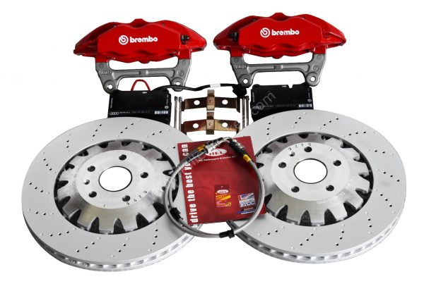 Audi TTRS 4Pot Brembo Calipers Complete Brake KIT Red New