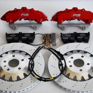 Audi RS Full Big brake upgrade Brembo 8Pot Calipers 370mm Brake discs Brand NEW Red