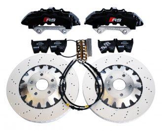 Audi RS Full Big brake upgrade Brembo 8Pot Calipers 370mm Brake discs Brand NEW Black