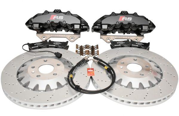 Audi RS Full Big brake upgrade Brembo 8Pot Calipers 370x32mm Brake discs Brand NEW Black