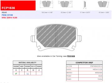 Ferodo Racing Rear Brake Pads DS2500 FCP1636 New
