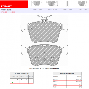 Ferodo Racing Rear Brake Pads DS2500 FCP4697 New
