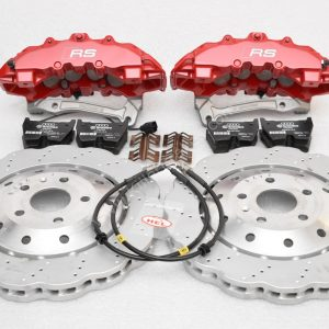 Audi RS Full Big brake upgrade Brembo 8 Pot Calipers 365x34mm Wave Brake discs Brand NEW Red small signs