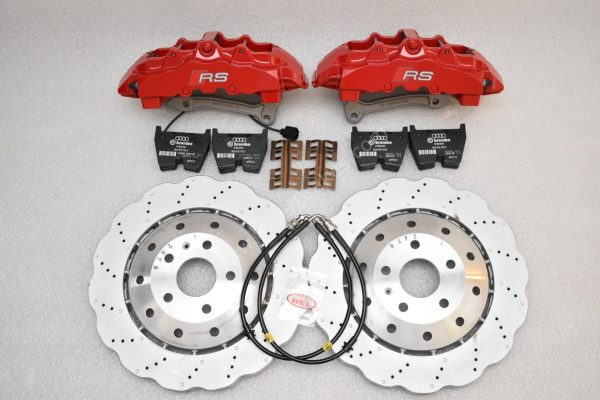 Audi RS Full Big brake upgrade Brembo 8 Pot Calipers 365x34mm Wave Brake discs Brand NEW Red small signs-11