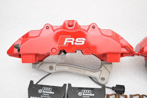 Audi RS Full Big brake upgrade Brembo 8 Pot Calipers 365x34mm Wave Brake discs Brand NEW Red small signs-13