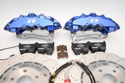 Audi RS Full Big brake upgrade Brembo 8Pot Calipers 365mm Wave Brake discs Brand NEW Lapiz Blue