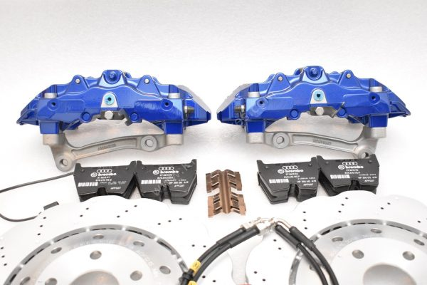 Audi RS Full Big brake upgrade Brembo 8Pot Calipers 365mm Wave Brake discs Brand NEW Lapiz Blue