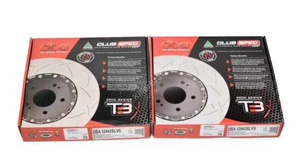 Audi TTRS 8J Brake Discs DBA 52842SLVS 370x32mm 5000 series Fully Assembled 2-Piece Clear Anodised T3