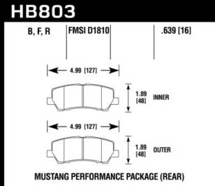 Rear Hawk Performance Brake Pads HB803B.639 Ford Mustang GT 5.0 HPS 5.0 New