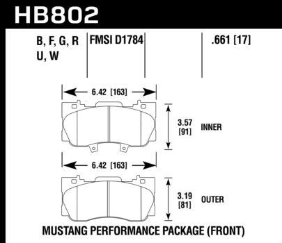 Front Hawk Performance Brake Pads HB802B.661 Ford Mustang 2.3 Turbo HPS 5.0