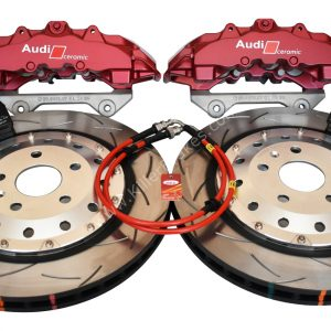 Audi RS Big Brake Upgrade Brembo 8Pot Calipers 370x32mm Round Slotted 2-piece DBA 52842SLVS Brake discs