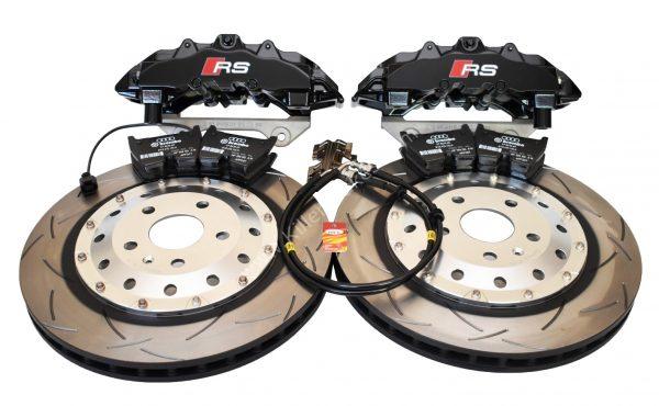 Audi RS Big Brake Upgrade Brembo 8Pot Calipers 370x32mm Round Slotted 2-piece DBA 52842SLVS Brake discs