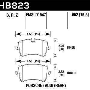 Audi Rs6 C7 Rs7 4G Rear HB823B.652 Hawk Performance HPS 5.0 Brake Pads