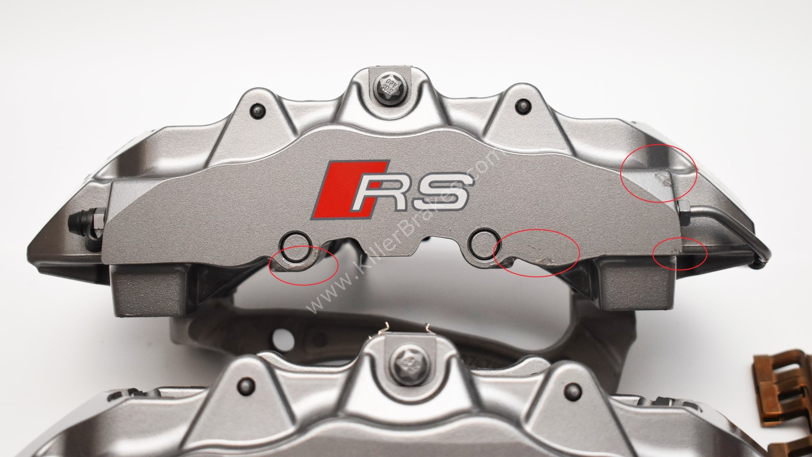Front Audi TTRS 8S RS3 8v Ceramic Calipers 8v0615107E 8v0615108E Brembo 8pot NEW with storage signs