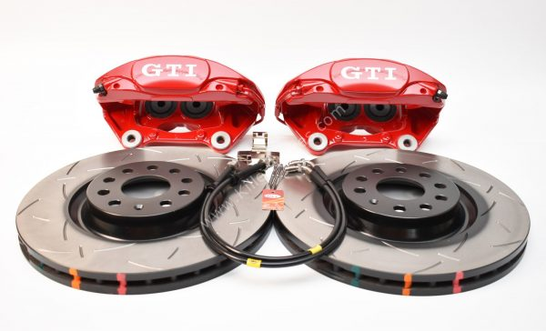 MQB Porsche Macan Brembo 4pot DBA Slotted discs Brake Kit NEW Red