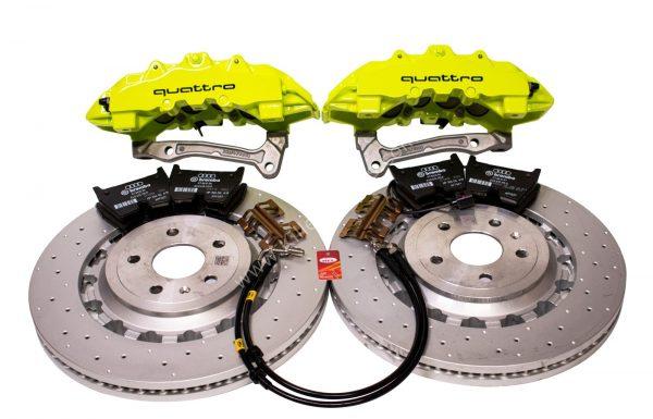 Audi TTRS 8S FL Brakes Brembo 8Pot Calipers 370x34mm Round Brake Discs Green Acid