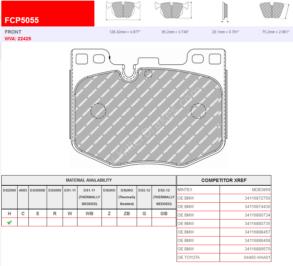 Front Ferodo Racing DS2500 Brake Pads FCP5055H BMW G20 G29 G30 G12 G01 Toyota Supra 3.0