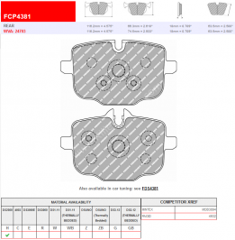 Rear Ferodo Racing DS2500 Brake Pads FCP4381H BMW G30 G12 G01 G02 G05