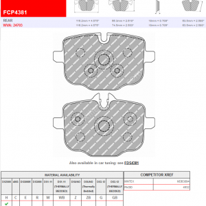 Rear Ferodo Racing DS2500 Brake Pads FCP4381H BMW G30 G12 G01 G02 G05