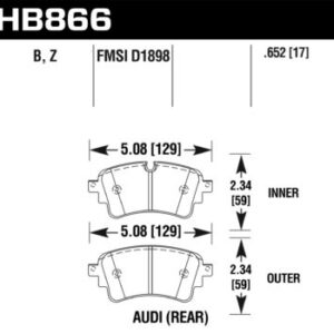 Rear Hawk Performance HB866B.652 Brake Pads HPS 5.0 Audi Rs4 Rs5 B9 S4 S5 B9 A6 C8