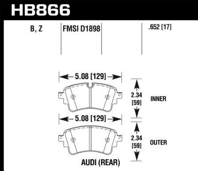 Rear Hawk Performance HB866B.652 Brake Pads HPS 5.0 Audi Rs4 Rs5 B9 S4 S5 B9 A6 C8