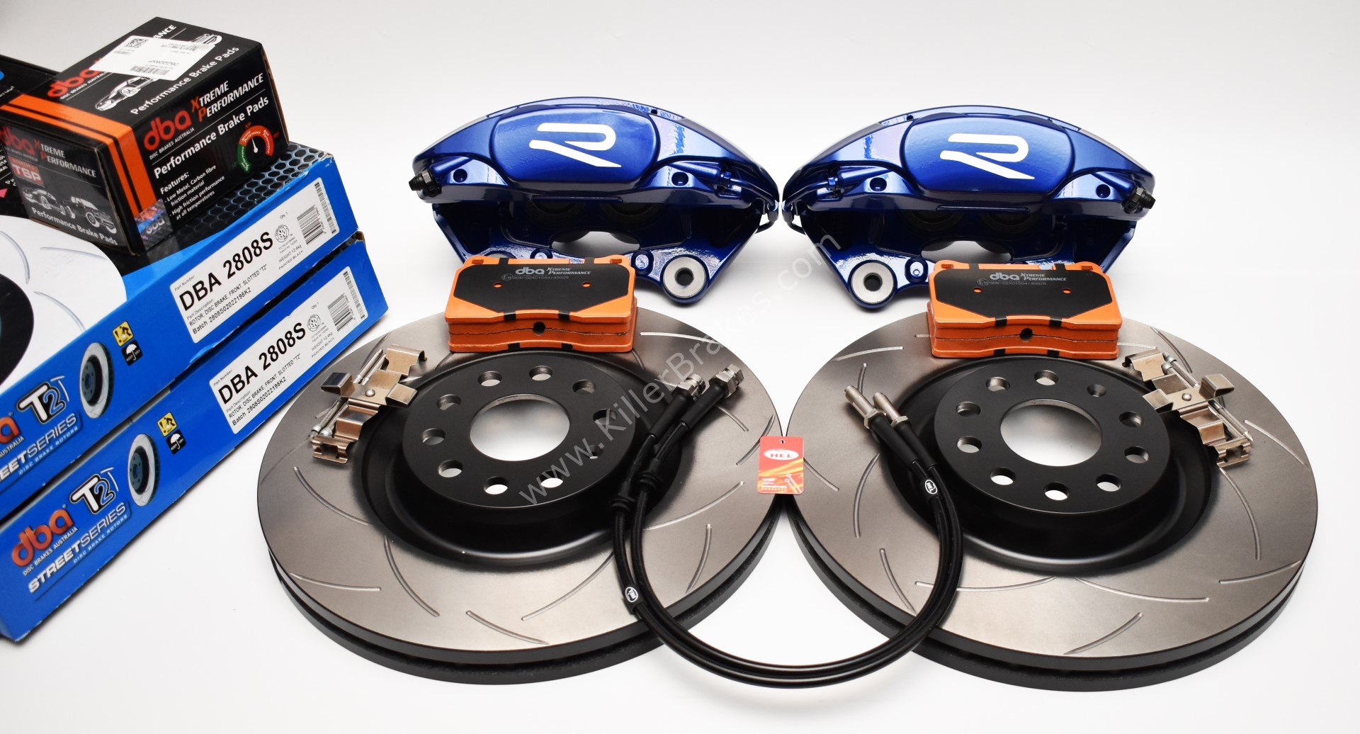 MQB Brake Kit Porsche Macan Brembo 4pot DBA 345x30mm Slotted discs NEW with color/logo options