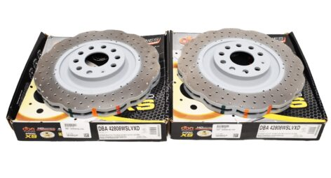 Front DBA 42808WSLVXD Wave Brake Discs 345x30mm 4000 series T3 Drilled New Golf 6R S3 8P