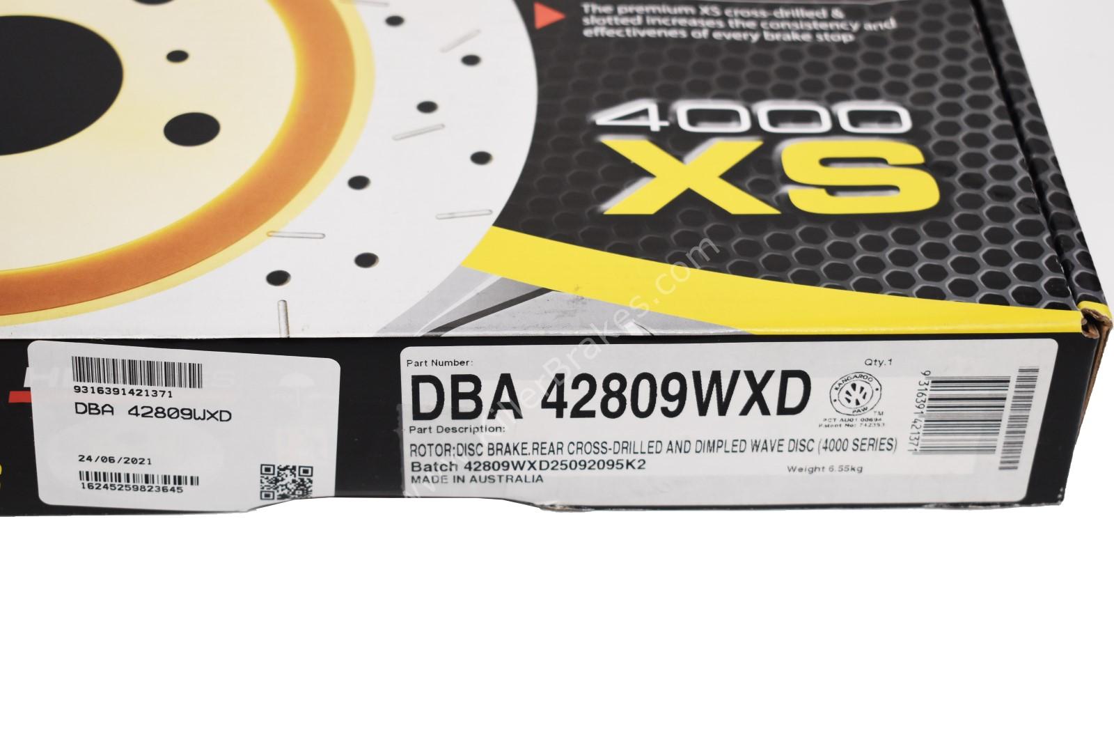 Rear Wave DBA 42809WXD Brake Discs 310x22mm 4000 series T3 Drilled New